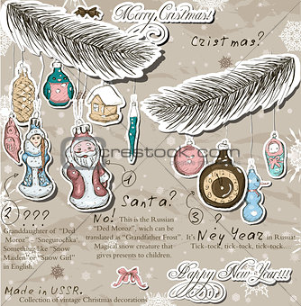 Poster with vintage Christmas decorations.