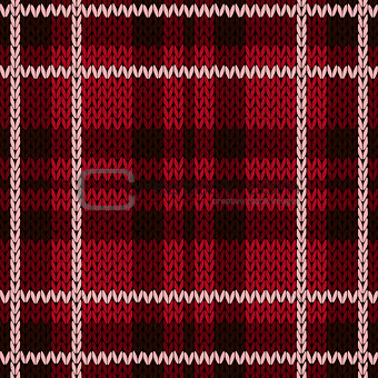 Knitting checkered seamless pattern mainly in red hues