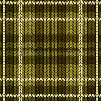 Knitting checkered seamless pattern mainly in warm green hues