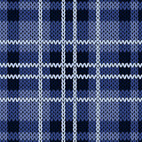 Knitting checkered seamless pattern in various blue hues