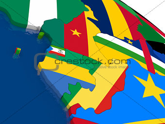 Cameroon, Gabon and Congo on 3D map with flags