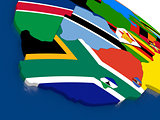 South Africa on 3D map with flags