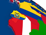 Ecuador on 3D map with flags