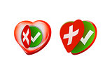 Romantic Approval Rejection Symbols with Heart Shaped