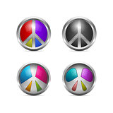 Set of Colorful Metallic Peace Icons