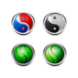 Set of Colorful Metallic Yin Yang Icons