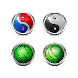 Set of Colorful Metallic Yin Yang Icons
