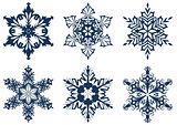 Set of 6 blue snowflakes