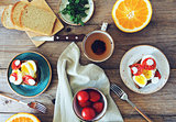 Breakfast table set with sandwiches, fruits and tea