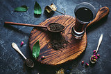 Still life of black tea and herbal tea