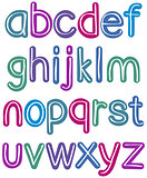 Colorful lower case brush alphabet