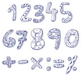 Doodle numbers and math signs