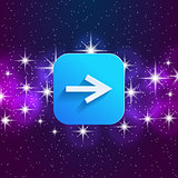 Next arrow icon. Forward sign. Right direction symbol. Square icon and star sky.