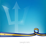 barbados ribbon flag on blue sky background