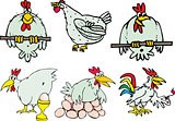 Set of funny hen birds and roosters