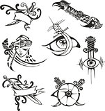 Set of tribal tattoo stencils with blades