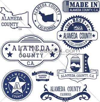 Alameda county, CA. Stamps and signs