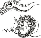 Two powerful dragons for tattoo stencils