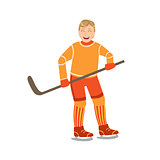 Guy Playing Hockey In Orange Uniform