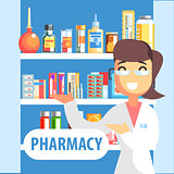 Woman Pharmacist Demonstrating Drug Assortment On The Shelf Of Pharmacy