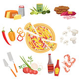 Pizza Ingredients And Cooking Utensils Set