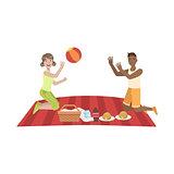 Couple Playing Ball On Picnic