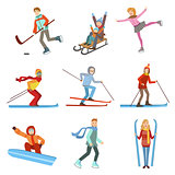 People Doing Winter Sports Illustration Set