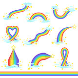 Rainbows Of Different Fantastic Shape Set  Icons
