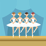 Four Ballerinas Little Swans Dance Performance