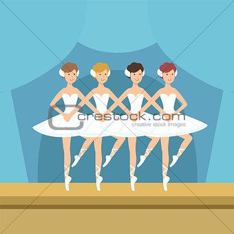 Four Ballerinas Little Swans Dance Performance