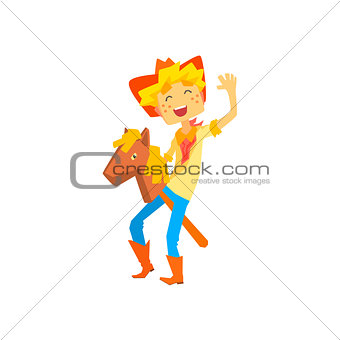 Boy In Cowboy Costume Riding Toy Horse Head On A Stick