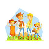 Family Dressed As Cowboys With Mountain Landscape On Background