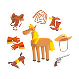 Horse Surrounded With Cowboy Disguise Related Objects Drawing On White Background