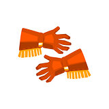 Cowboy Gloves With Fringe Drawing Isolated On White Background
