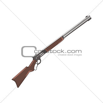 Rifle Cowboy Gun Drawing Isolated On White Background