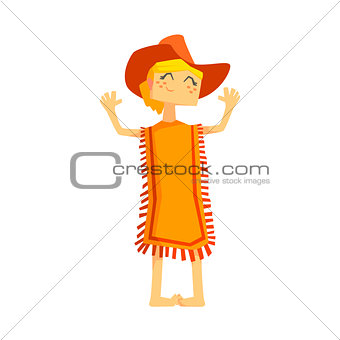 Little Barefoot Girl Wearing A Poncho And Cowboy Hat