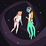 Woman Astronaut Meeting Alien Female Being