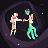 Man Astronaut Shaking Hands With Green Male Alien