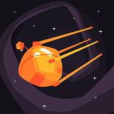 Old-school orange Satellite Flying On Orbit
