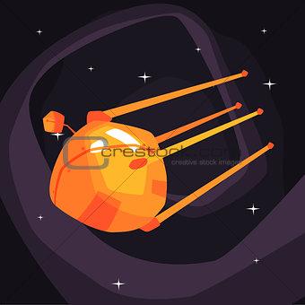 Old-school orange Satellite Flying On Orbit