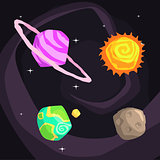 Solar System Planets Including Sun, Earth, Jupiter And Pluto