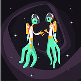 Two Green Extraterrestrial Beings In Space Suits