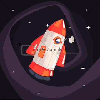 Classic Rocket Spaceship With Satellite Dish