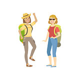 Two Women Going For A Hike With Backpacks