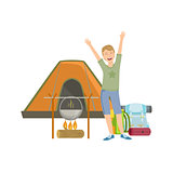 Cheerful Man With Tent, Bonfire And Backpack