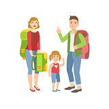 Family With Backpacks Preparing For Hike