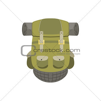 Green Hiking Backpack With Rolled Matrass
