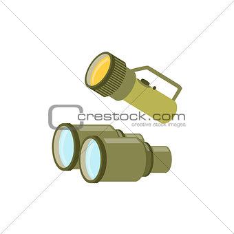 Pair Of Binoculars And A Lamp