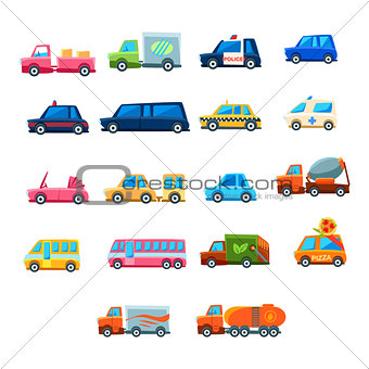 Cute Toy Car Set Of Icons
