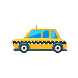 Yellow Taxi Toy Cute Car Icon